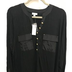 "Black Gold Button 3/4 sleeve Hensley ""Avenue"" Top"